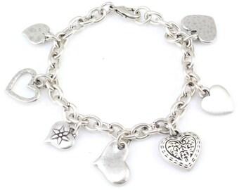 Heart Charm Bracelet, Silver Heart Bracelet, multi heart Charm Bracelet, Brushed Silver hearts Bracelet, silver heart charm bracelet