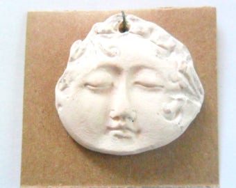 Ivory Glazed Kiln Fired Clay Face Pendant Finding