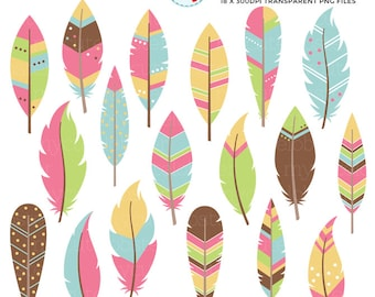 Bright Feathers Clipart Set - feathers clip art set, tribal feathers, feather, bright - personal use, small commercial use, instant download