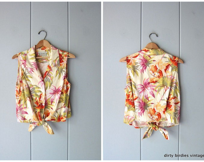 Tropical Tie Front Silk Tank