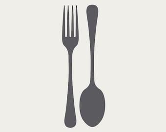 Fork & Spoon Silverware Kitchen Vinyl Wall Decal