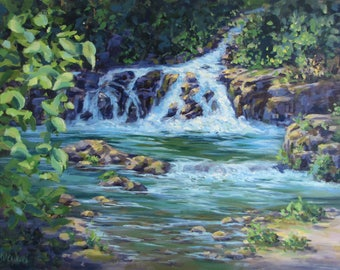 Gentle Falls - Original large river painting