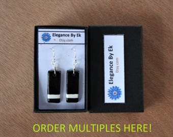 PLACE ORDER: 1st Degree Black Belt Earrings with White stripes and Sterling Silver french earring wires!