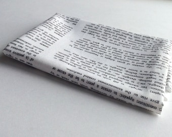 Fat Quarter - Dictionary Text Fabric - White Low Volume