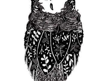 Owl Illustration // Owl Print // Owl Drawing // Animal Illustration // Woodland Animal Art // Black and White Botanical Print