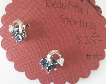 Sterling Silver Blue and Clear Stone Cluster Earrings