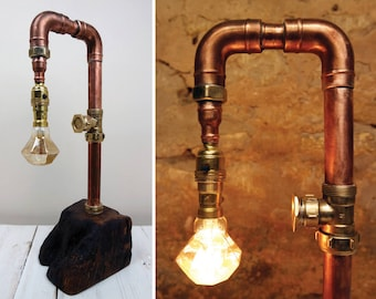 Industrial Lamp, Steampunk Lamp, Vintage Lamp, Copper Lamp - Functional, Practical & Individually Handcrafted