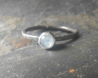Aquamarine  sterling silver ring, March birthstone or Mother's stacking ring