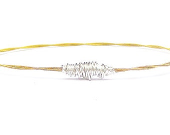 Guitar String Bracelet // Gold Bangle Bracelet // Thin Gold Bangle Bracelet // Guitar String Jewelry // Friendship Bracelet // Eco-Friendly