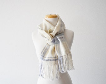 Handwoven Scarf in Pale Wool and Silk - Pale Purple, Cream White, Fringed, Winterweight, One of a Kind.  The Gingham Scarf