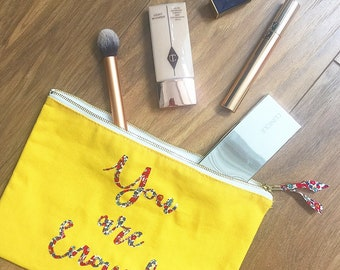 Liberty 'You are Enough' Makeup Pouch in Yellow