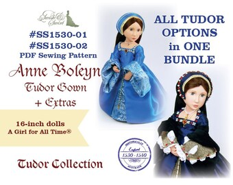 PDF Pattern Complete Bundle #SS1530-01 & #SS1530-02. Anne Boleyn Tudor Gown and EXTRAS for A Girl for All Time dolls.
