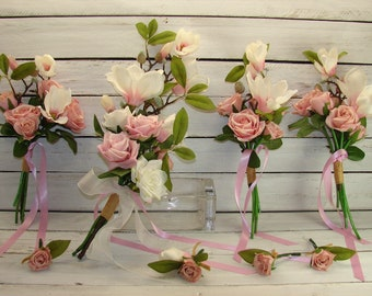 Magnolia and Roses  8 PIECE Wedding Bouquet Set , Boho bouquet, Handtied, Garden gathered Spring, Summer bouquet , Ivory , Pastel, Pink