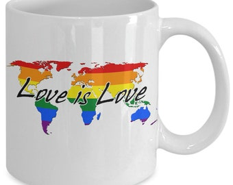 Love is love worldwide gay pride rainbow mug, celebrate and support lgbt