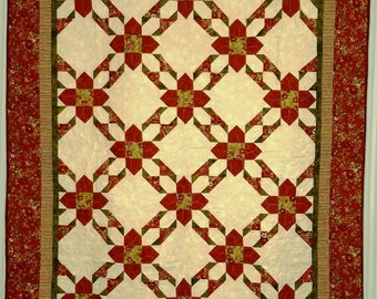 """Snowflower Quilt, Red, Green and Cream, Pieced """"Snowflowers"""" 78"""" x 60"""""""