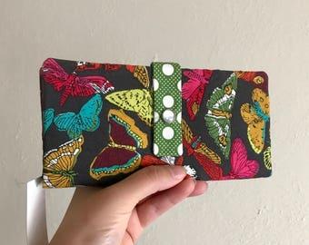 Pretty Jewel Tone Butterflies Wallet - Butterfly - Long Wallet Clutch - Card Slots, Zipper, Cash
