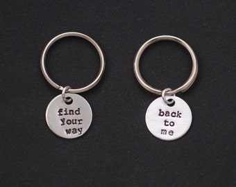 2 best friends keychains keyrings, find your way, back to me quote keychain set of two, sterling silver filled, mother daughter, for couples