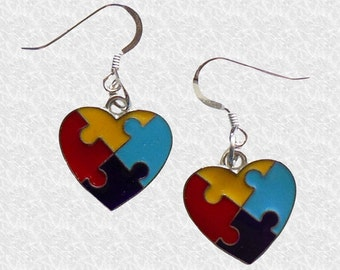 Autism Earrings, Autism Awareness Jewelry, Puzzle Piece Earrings, Autism Earrings, Autism Awareness Gift, Valentine's Day Gift, Teacher Gift