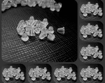 20 x Soft Plastic Replacement Earring Backs 4mm Bullet