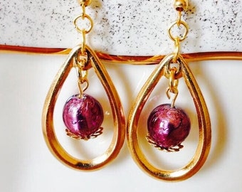 Gold Teardrop Dangle Earrings,Murano Glass Drop Earrings,Purple Venetian Earrings,Silver Foil Earrings,Gold Earrings,Purple Earrings