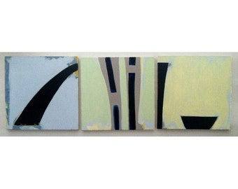 Vintage Abstract Triptych Painting by Paul Rinaldi