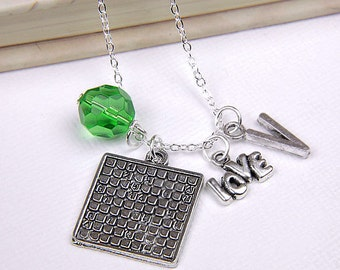 Personalized Sudoku Necklace with Your Initial and Birthstone