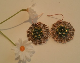 0158-Antique Copper and Brass Earrings