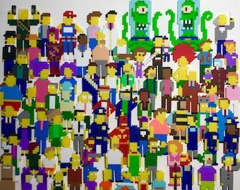 Simpsons Retro Pixel Pop Art. 8 bit Sprites. Perler Bead Magnets. Pins. Mini-Pix Characters