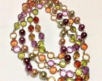 Multi colored bezel set acrylic beads beaded necklace.