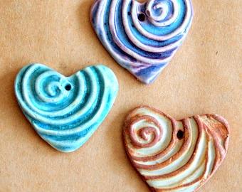 3 Sweet Ceramic Spiral Heart Pendant Beads in 3 unique glazes - Valentine's Day