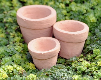 Tiny Pots, Set of 3 for Miniature Garden, Fairy Garden