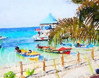 Watercolor Beach & Boats Art Digital Photo
