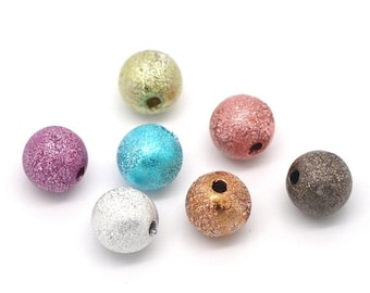 20pc Mixed Color Stardust Beads - 8mm - Bracelet Bead, Beading, Dainty Bead, Jewelry Finding, Space, Spacer, DIY, Ships from the USA - B33