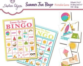 Summer Fun BINGO Printable Game, Instant Download