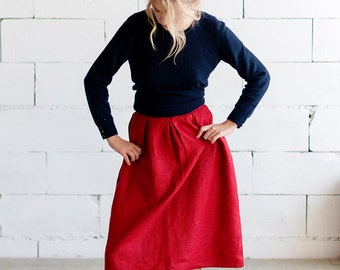 100% Linen Red Skirt, hand made in London, sustainable, artisan, fashion