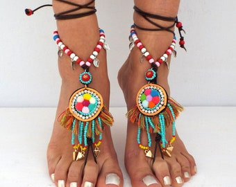 Barefoot Sandals, Super cute Beach Jewelry,   Hippie Sandals, Foot Jewelry,  festival accessories, yoga toe, anklet