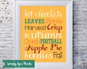 Fall Subway Art -Instant Download- Autumn, 8x10, A Collection of Fall Favorites, Home Decor Print