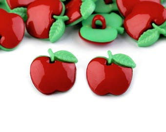 10 red and green apple buttons 18 mm
