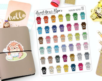 Recycle Planner Stickers - Recycling Planner Stickers - Garbage Eve Stickers - Doodle Icon Stickers - Hand Drawn Stickers - 1189