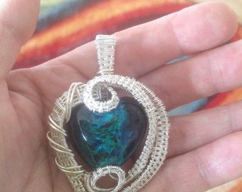 Wire wrapped dichroic heart pendant