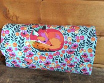 NCW/necessaryclutchwallet/fox/animal/tulapink/womans wallet/fox/nature/handmade
