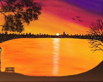 Cityscape, park bench painting,orange painting,purple painting, silhouette painting, black painting,Purple painting