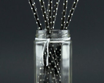 Black and White Polka Dot Straws