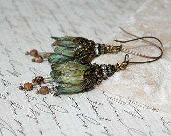 Verdigris Tulip earrings, Flower Earrings, Tulip Jewelry, Vintage Style Antique Brass Tulip Earrings