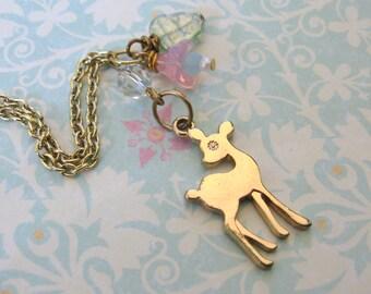 Forest Cutie Gold Deer Necklace