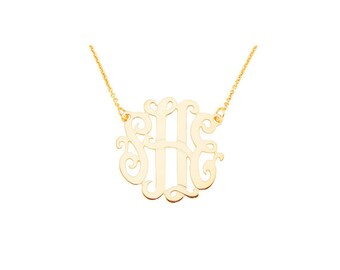 "14pMono100 14K Pink Gold 1"" Monogram Necklace"