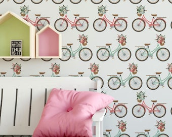 Vintage Coral and Mint Bicycles Removable Wallpaper // Cute Peel and Stick Wallpaper // Self-Adhesive Reusable Wall Mural
