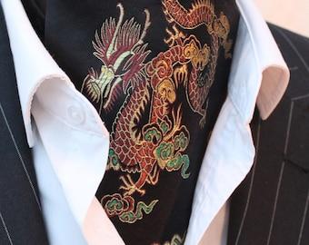 Cravat Ascot. UK Made. Black & Gold Chinese Dragon Cravat.