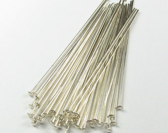 """Sterling Silver Head Pins - 3 inch 24 gauge Flat Headpins 3in 24g 24ga 24 g 24 ga 3"""" 3 in Jewelry Making Pins Wires 925 SS (10 head pins)"""