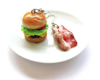 Burger & becon earring | Food earring | Food Jewelry | Miniature Foods | Thai Foods | Gift | Earring Cute